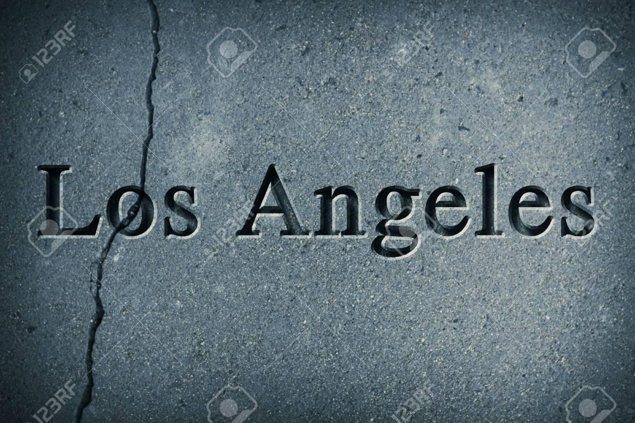 Grabado Ortografía De La Ciudad De Los Ángeles En La Superficie De ...