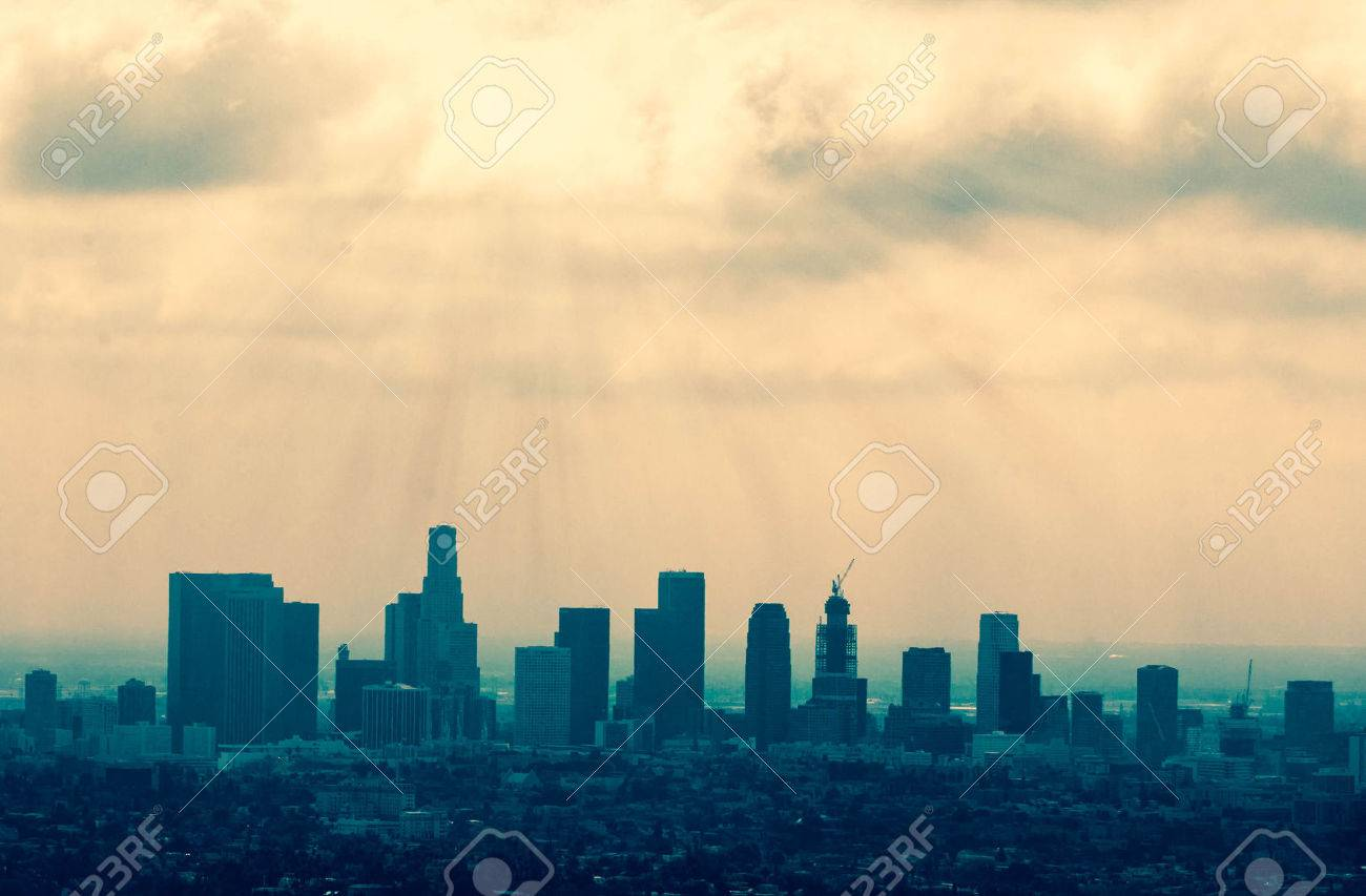 Beautiful Los Angeles skyline silhouette against sunset Stock Photo - 48914773