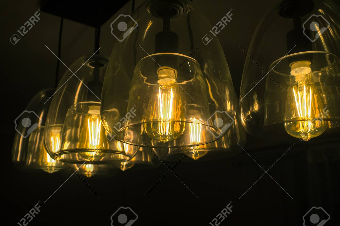 Decorative Antique Edison Style Light Bulbs Chandelier Background