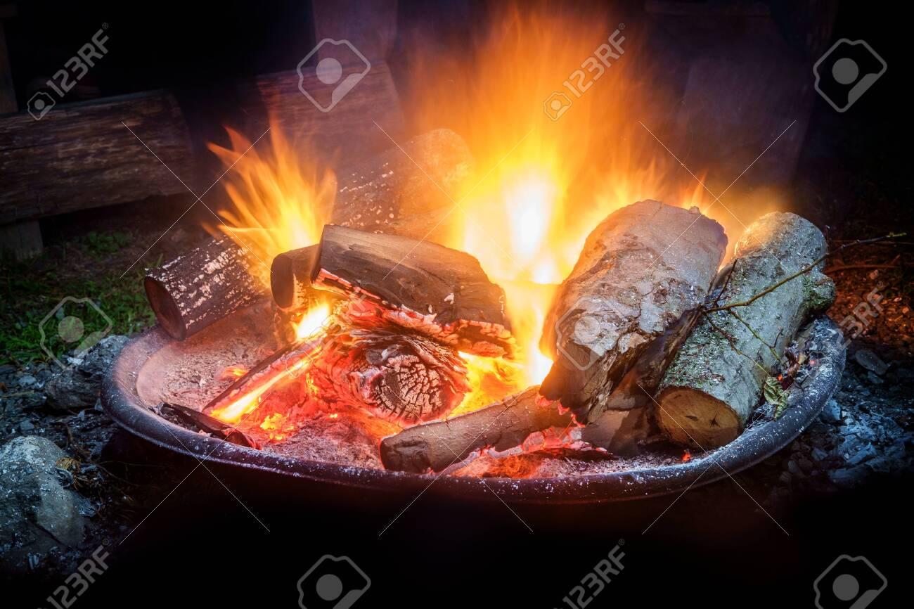 Camping Fire Pit >> Summer Camping Fire Pit With Blue Smoke