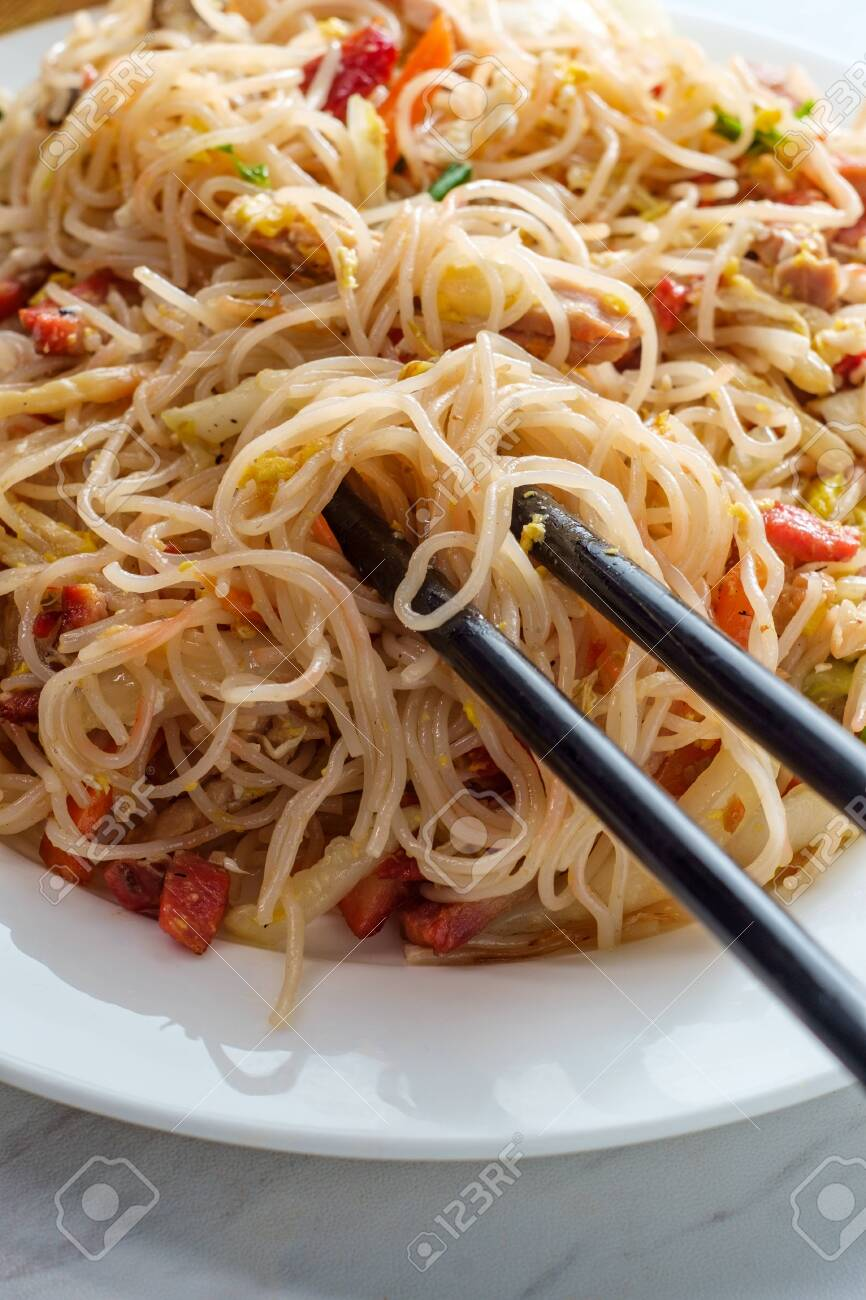 Chinese pork mei fun also known as Singapore-style noodles - 134082952