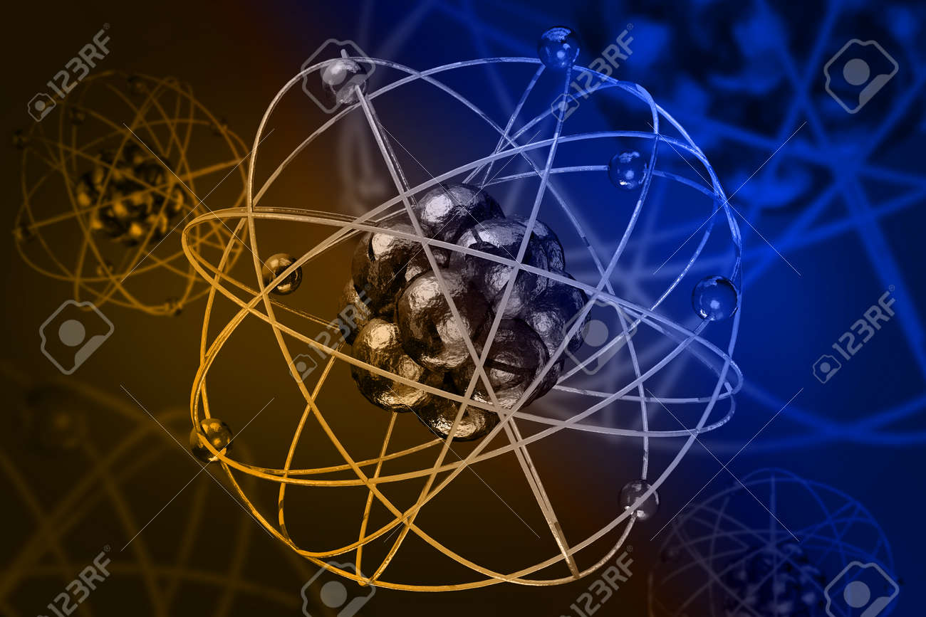 Close up of colorful atomic particle background science 3D illustration - 157516112