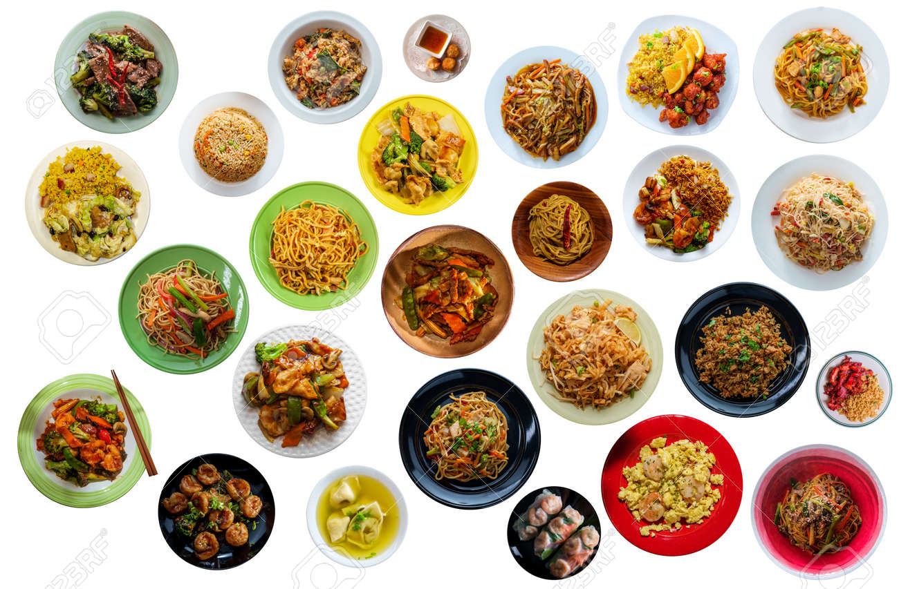 Flat lay collage of many popular chinese food dinners isolated on white background - 165099659