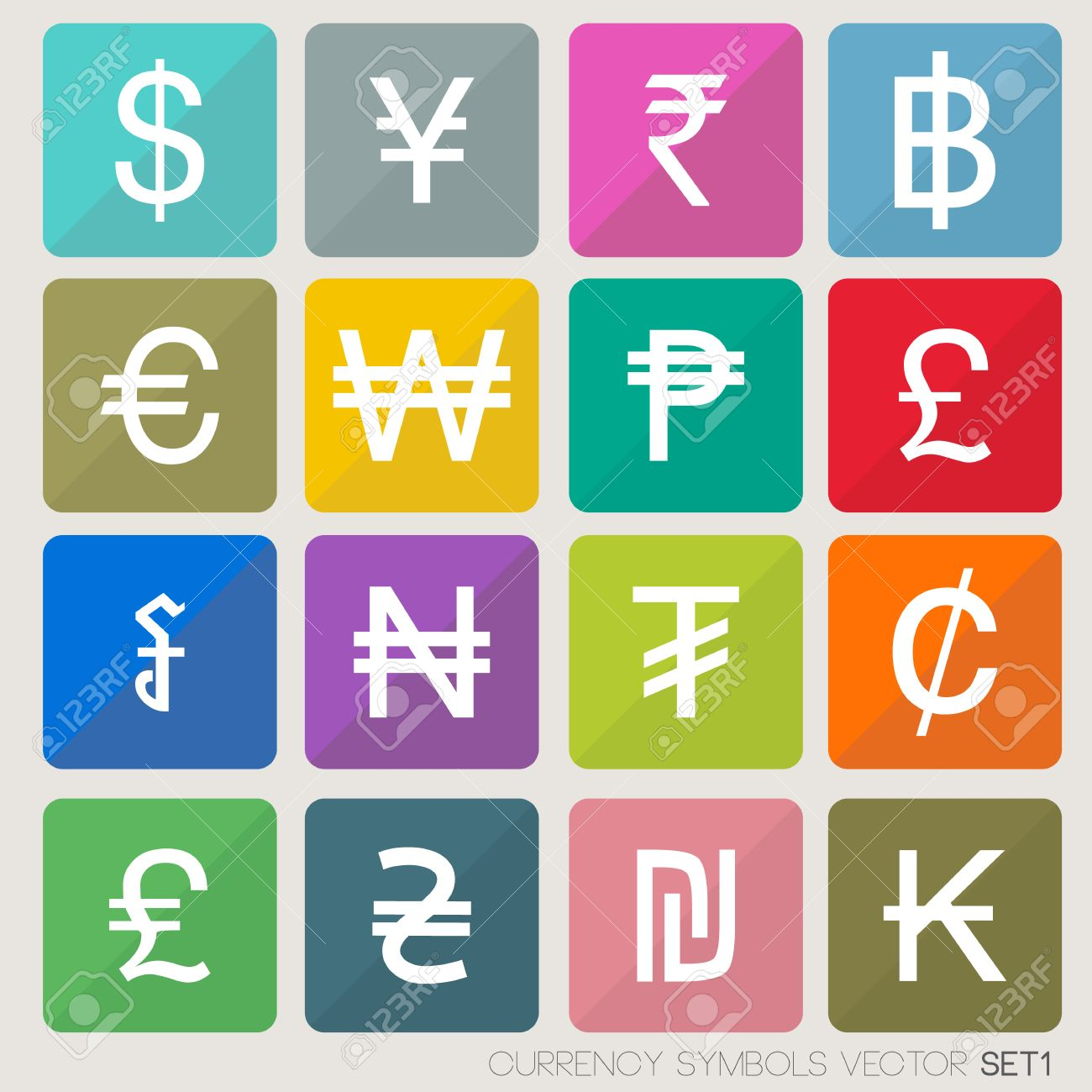 Currency Icons Set Currency Symbols Vector World Money Royalty Free