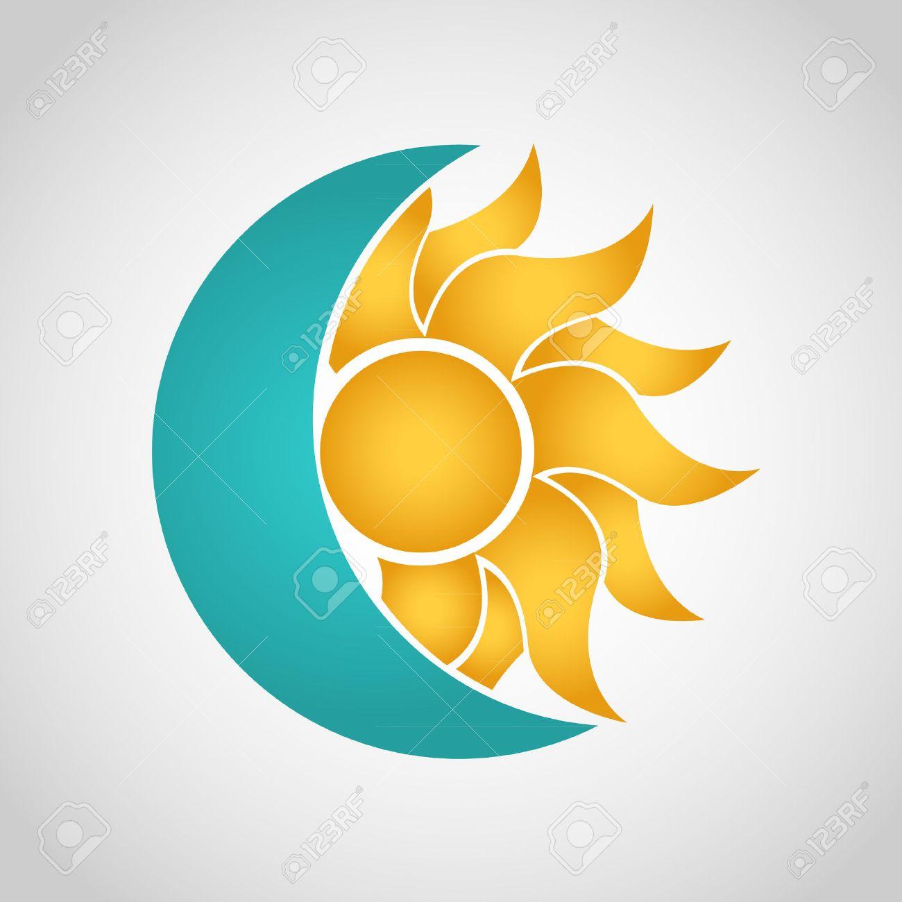sun and moon logo abstract vector illustration royalty free