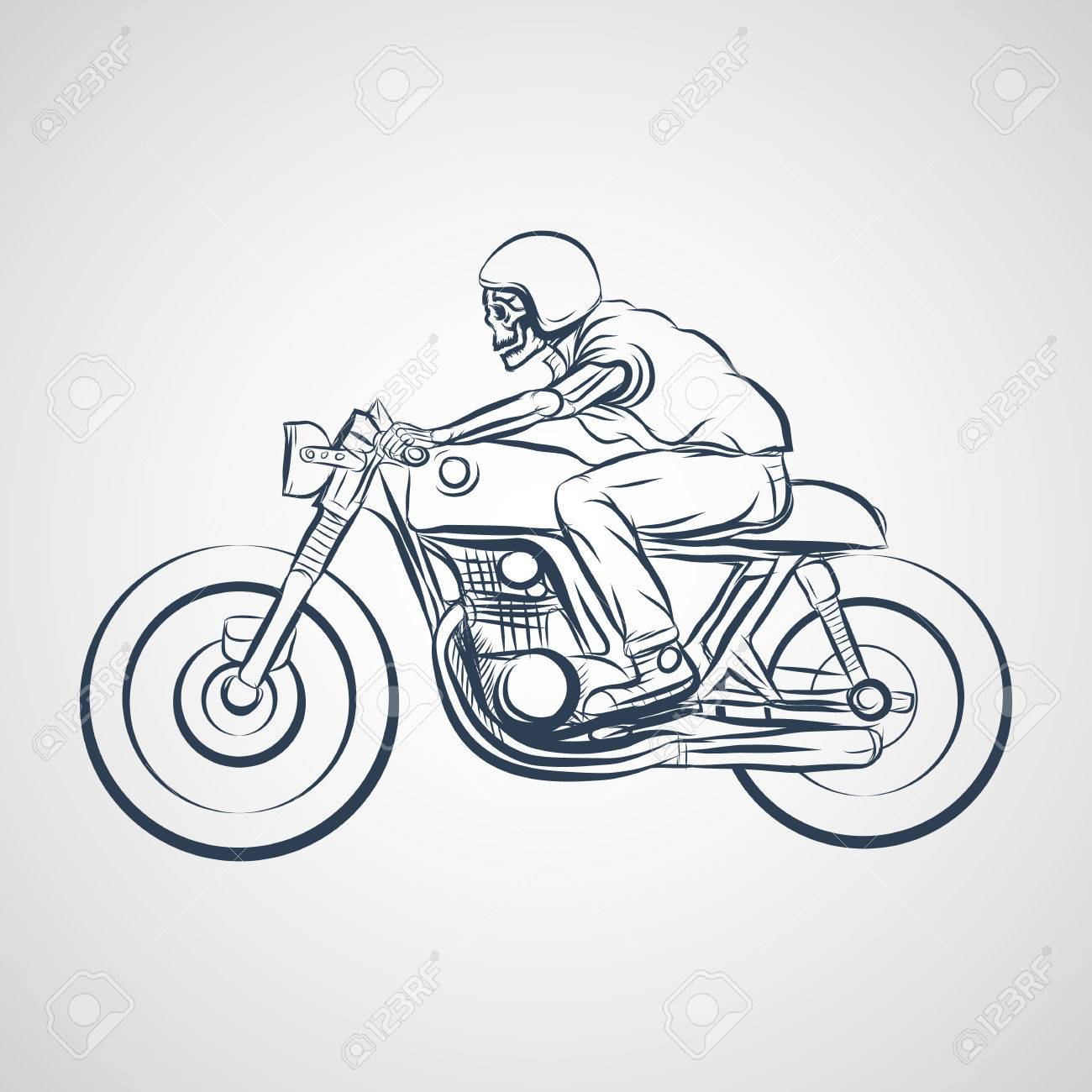 Skull Ride A Classic Cafe Racer Motorcycle Royalty Free Cliparts