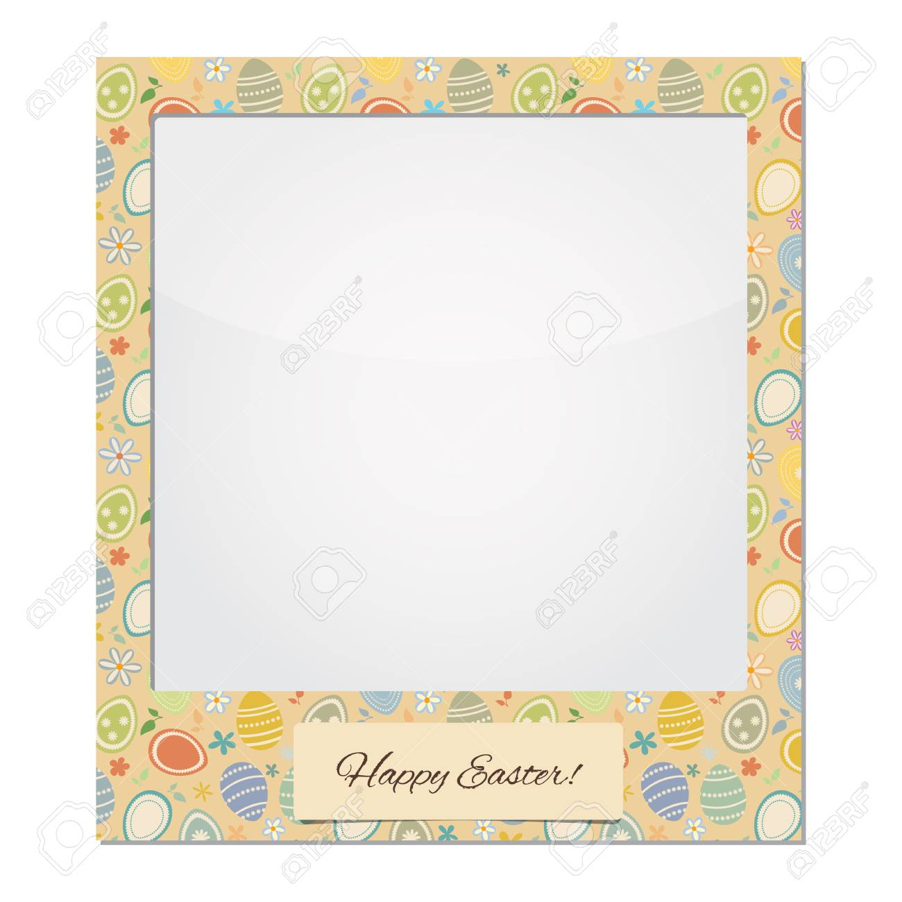 Frame: Happy Easter. Easter Eggs Royalty Free Cliparts, Vectors, And ...