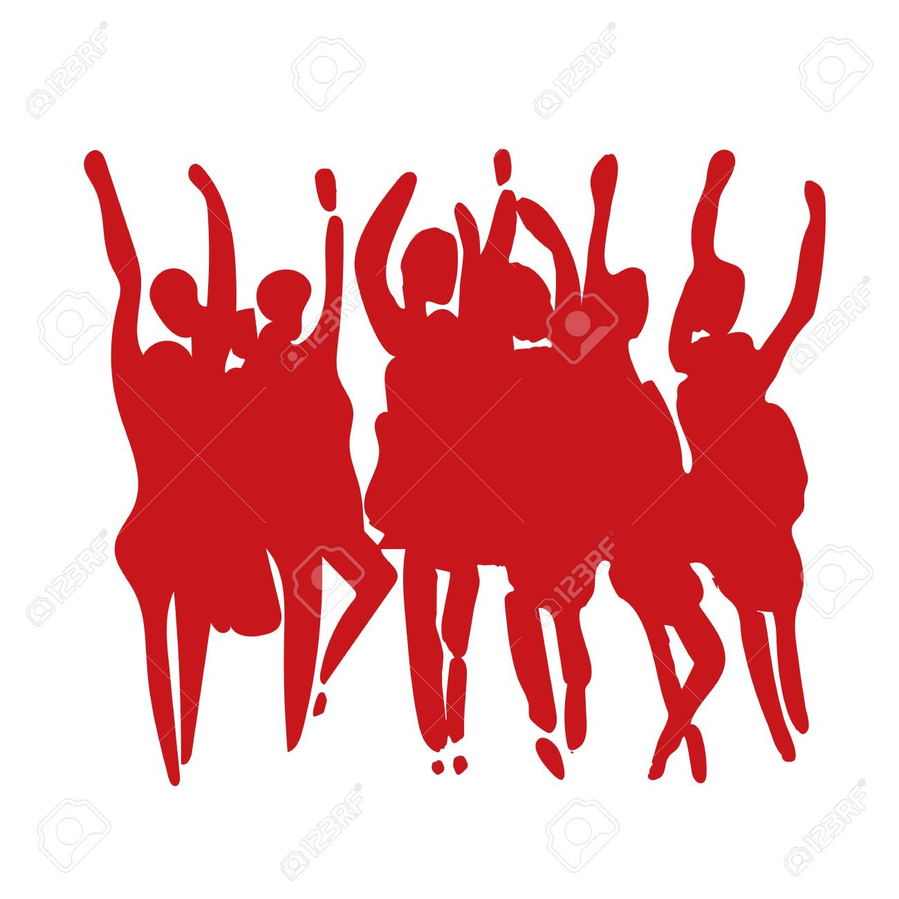 Vector - hand drawn watercolor illustration. Dancing people. People shaped watercolor stains - 142329330