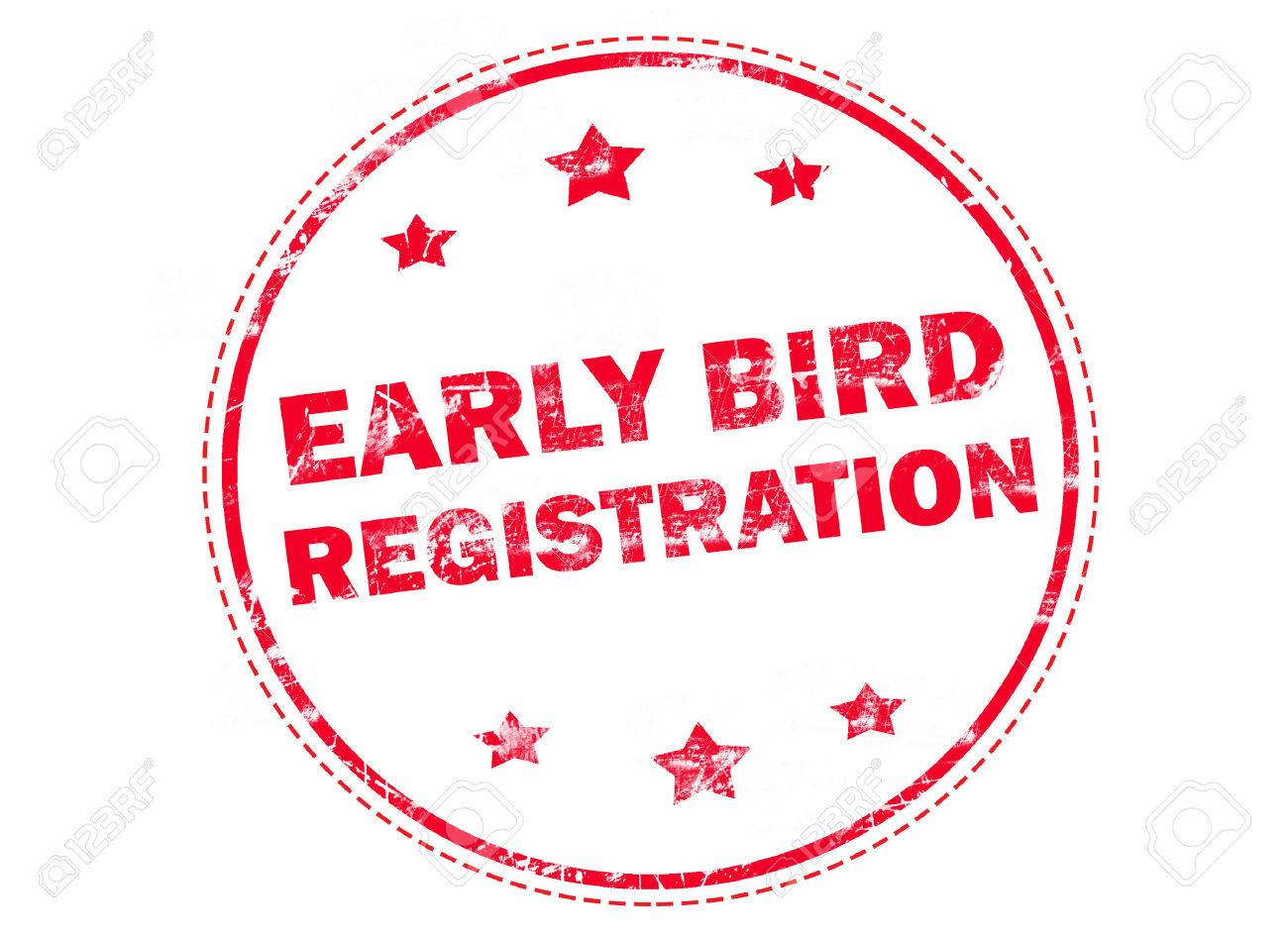Red grunge rubber stamp with text - Early bird registration - 56036127