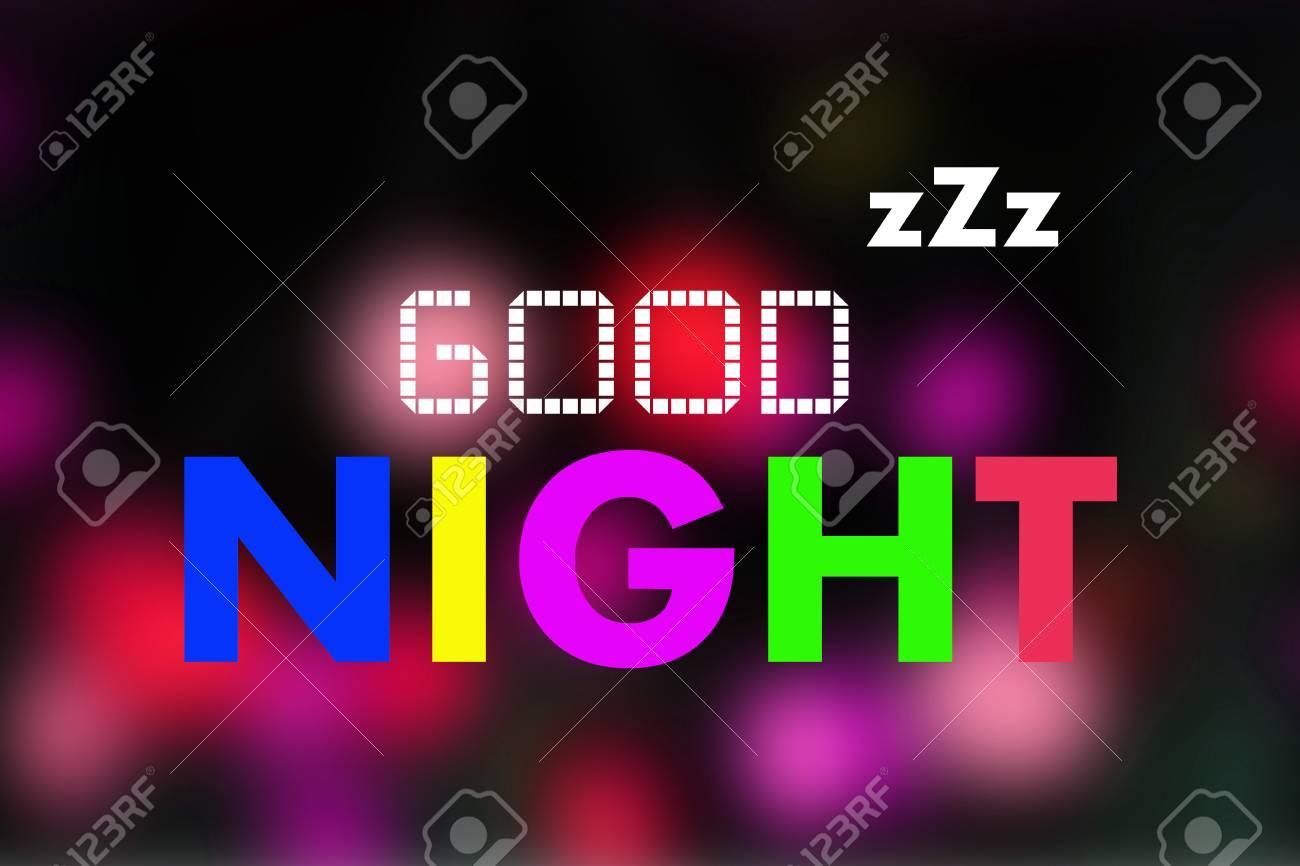 Good Night Word On Night Light Blurred Background Stock Photo   58035146 Home Design Ideas