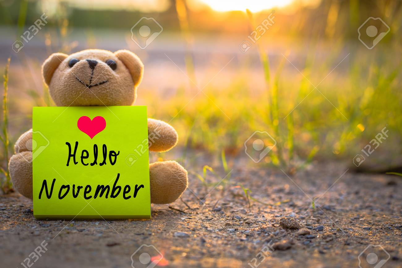 Hello November On Sticky Note With Teddy Bear On Nature Background Stock  Photo   64949739