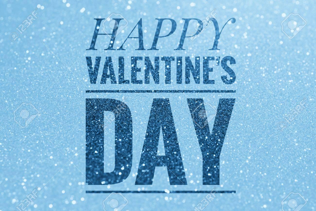 Happy Valentine S Day Words On Shiny Glitter Background Stock Photo