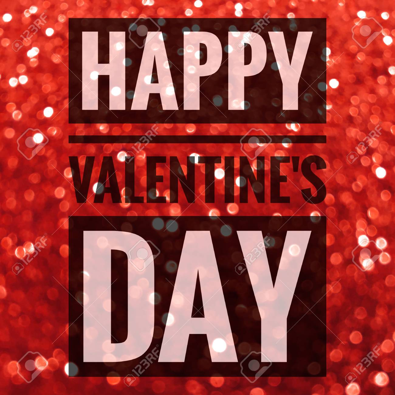 Happy Valentine S Day Words On Shiny Red Glitter Background Stock