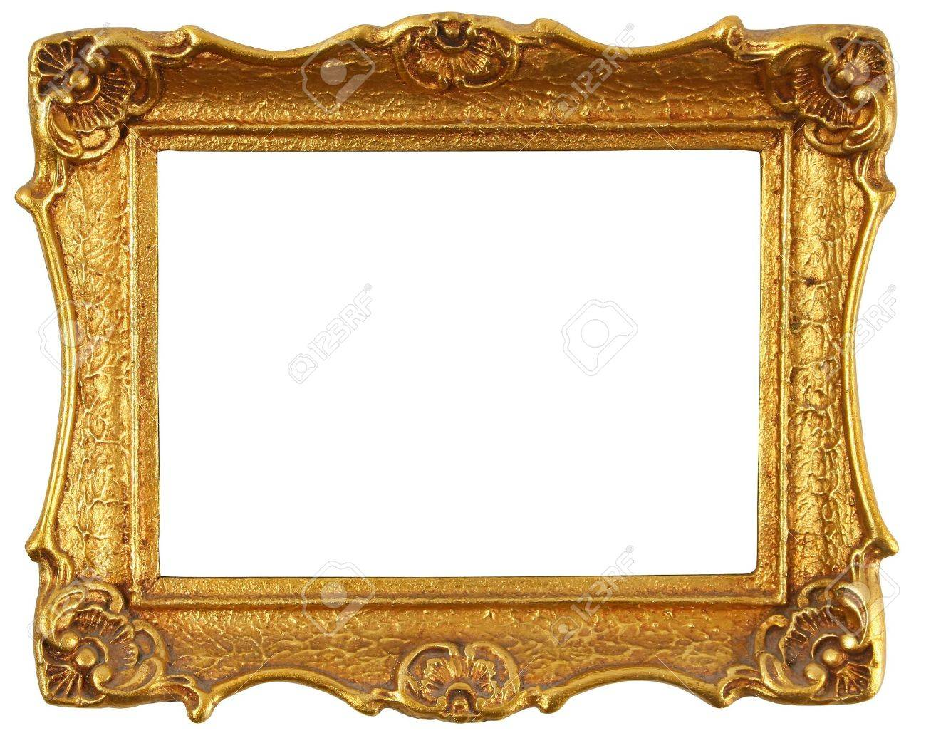 Old Antique Gold Frame Over White Stock Photo, Picture And Royalty ...