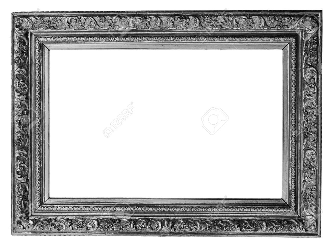 Old Antique Silver Frame Over White With Clipping Path Stock Photo ...