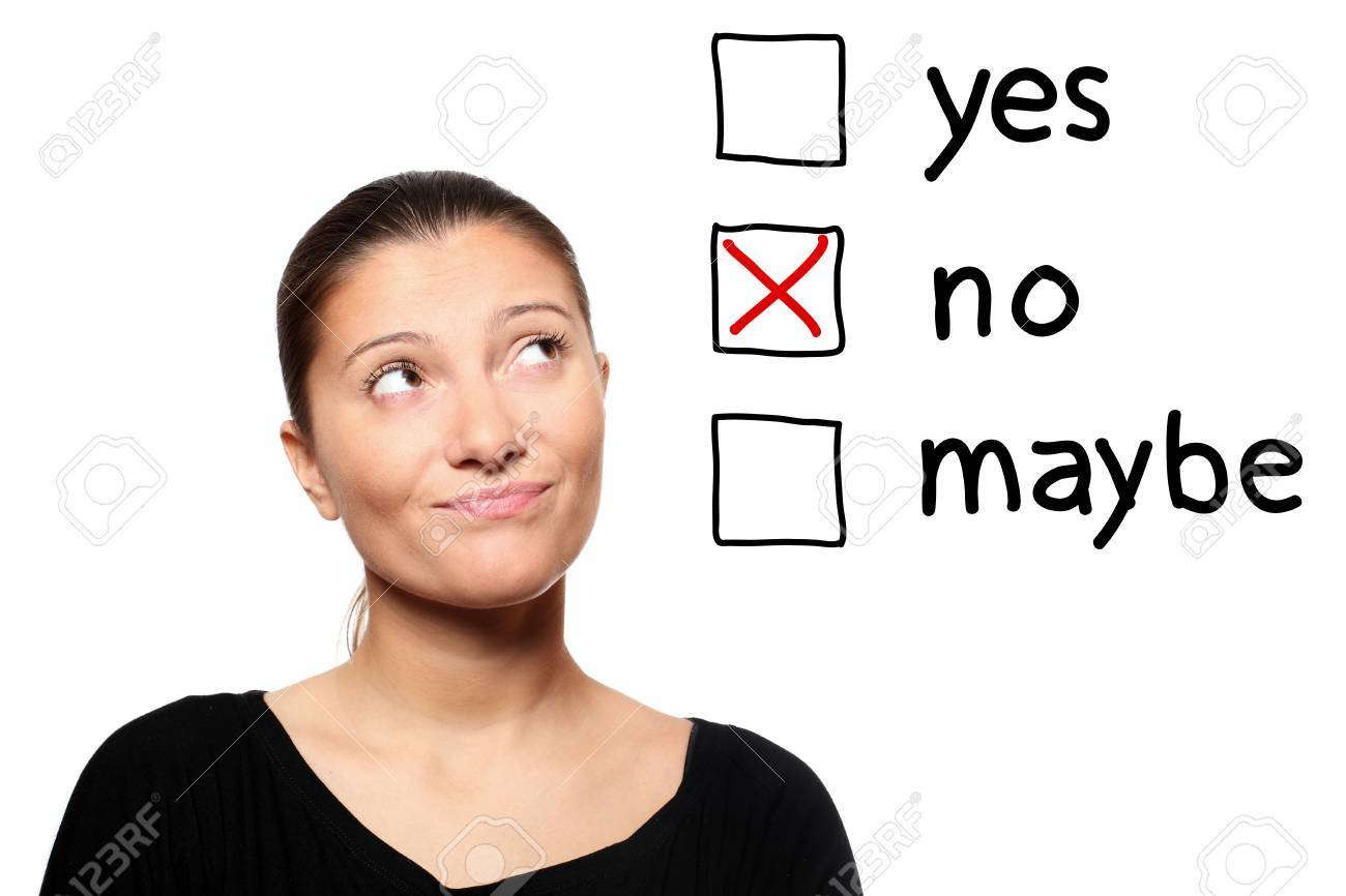 A portrait of a young woman voting for no over white background Stock Photo - 8407125