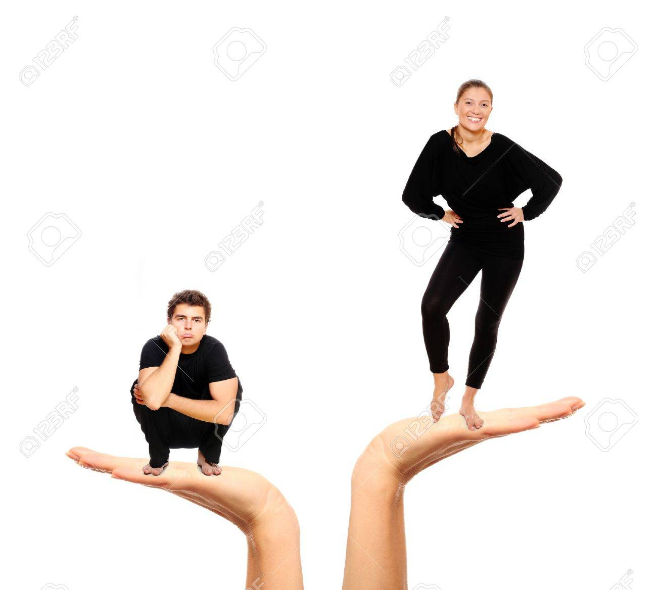 A picture of a sad man and a happy woman over white background Stock Photo - 8524705