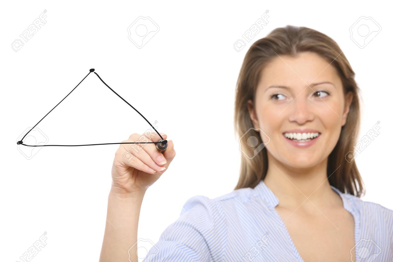 A picture of a nice woman drawing a triangle over white background Stock Photo - 9112892