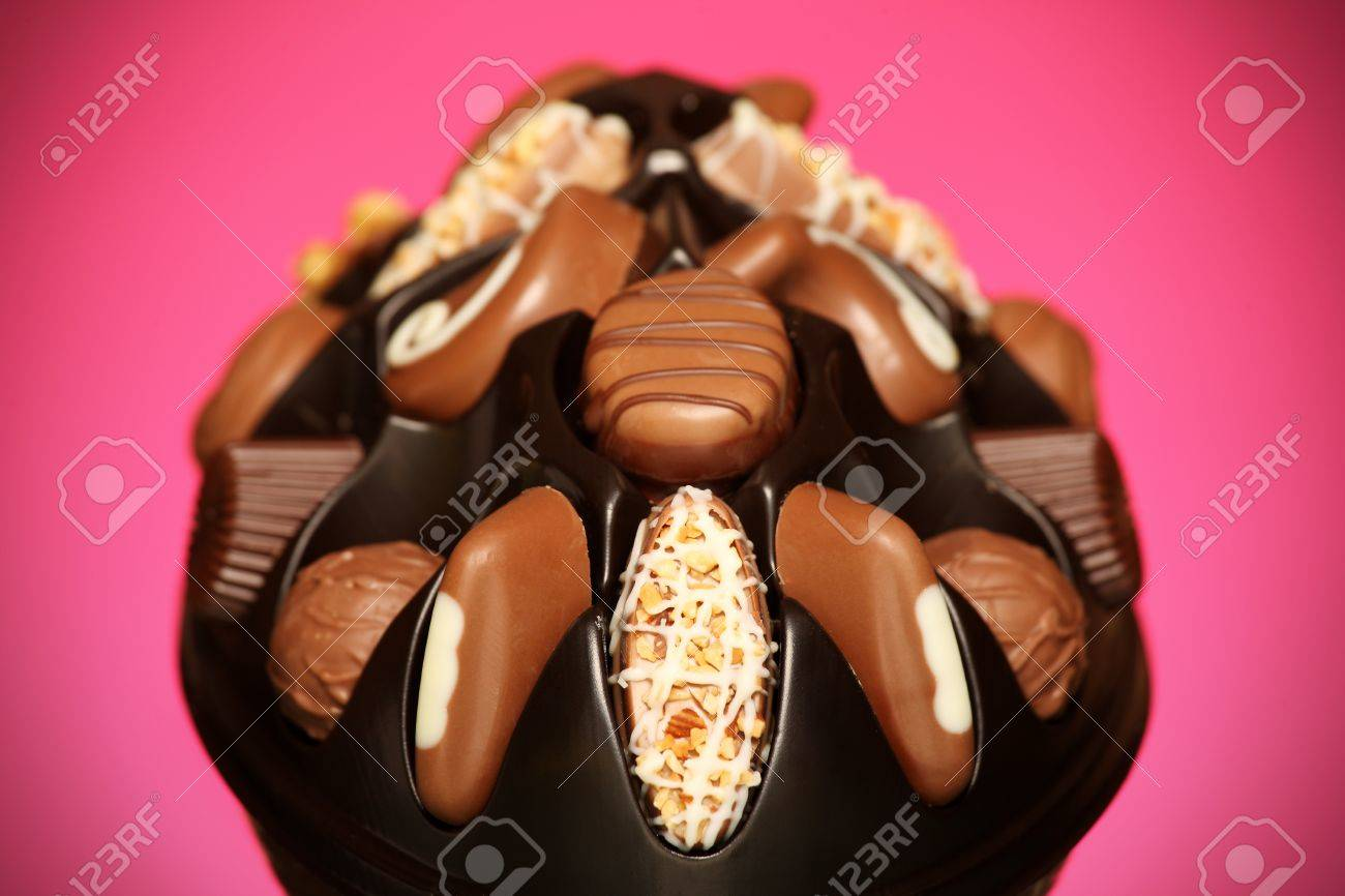A close-up of high quality swiss chocolates over pink background Stock Photo - 12198102
