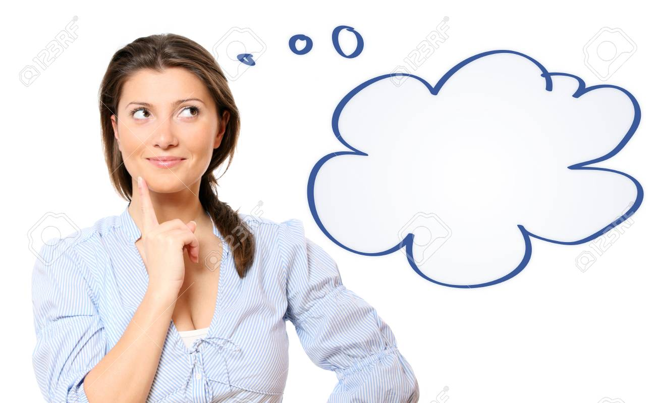 A portrait of a young beautiful woman lost in her thoughts over white background Stock Photo - 9264130