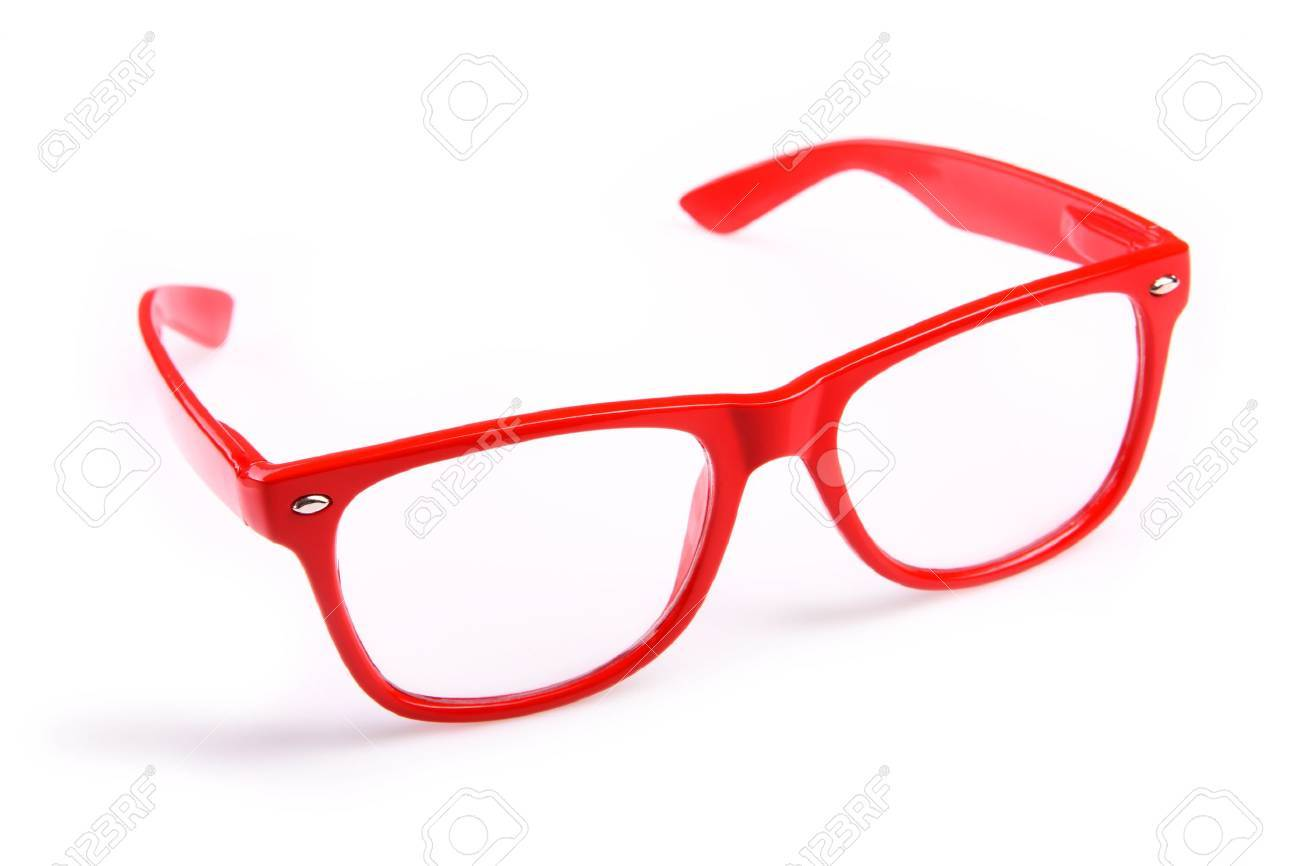A picture of red trendy glasses over white background - 9886819