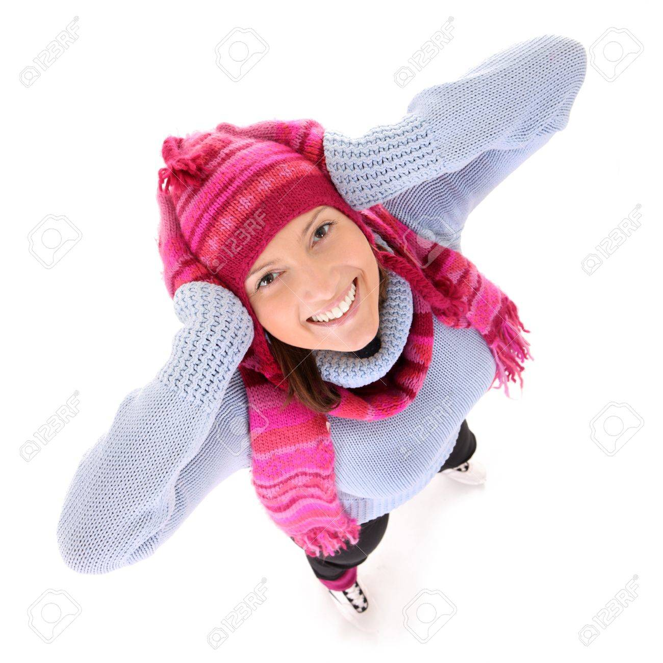 A picture of a young happy woman skating over white background Stock Photo - 11744485