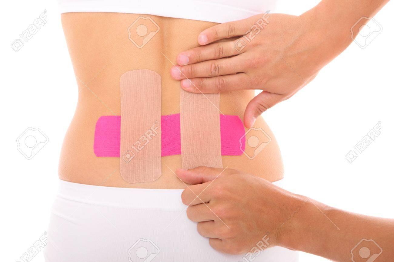 Ein Bild Von Einem Speziellen Physio Tape Auf Dem Rückenmuskel über ...