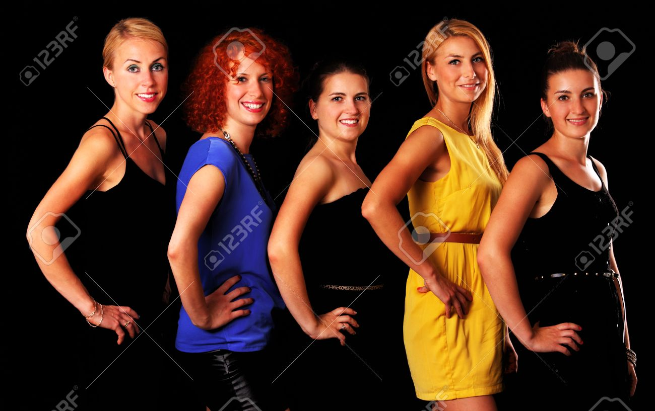A picture of a group of five sexy girl friends posing over black background Stock Photo - 16056509