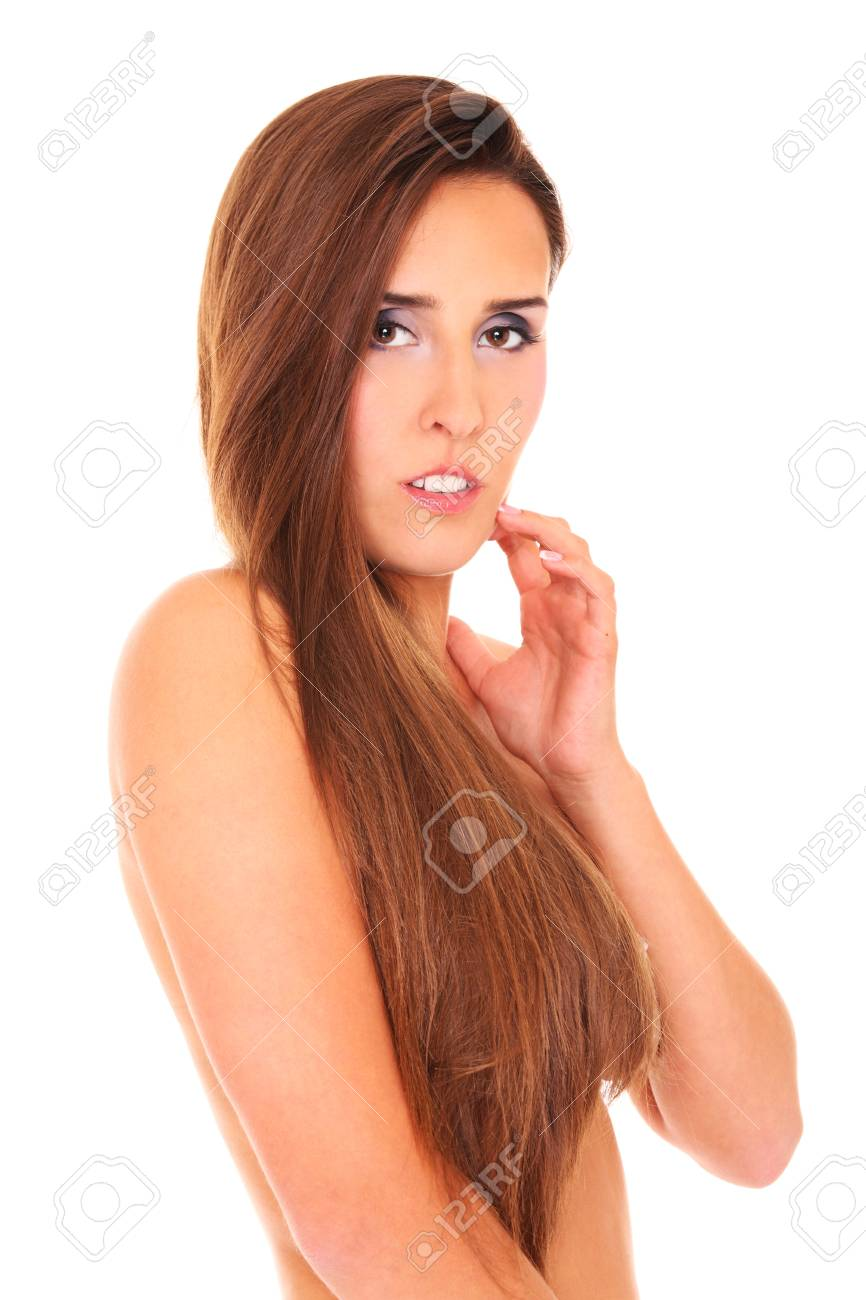 A picture of a beautiful sensual woman covering her body with hair over white background Stock Photo - 17797132