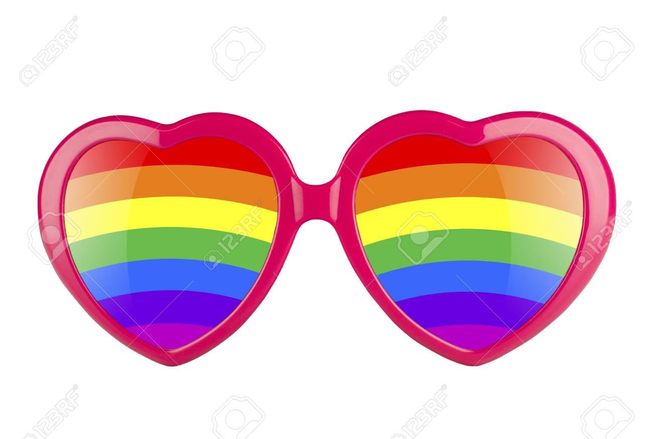 envio GRATIS a todo el mundo buena reputación brillante n color Concepto LGBT. Un par de gafas de sol en forma de corazón rosa con lentes  de arco iris aislados