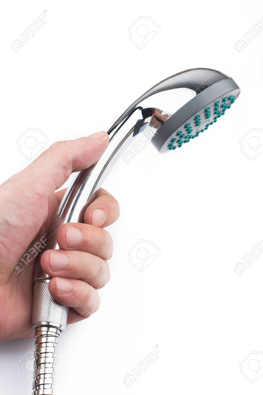 Side View Of Caucasian Hand Holding Chrome Shower Head Isolated