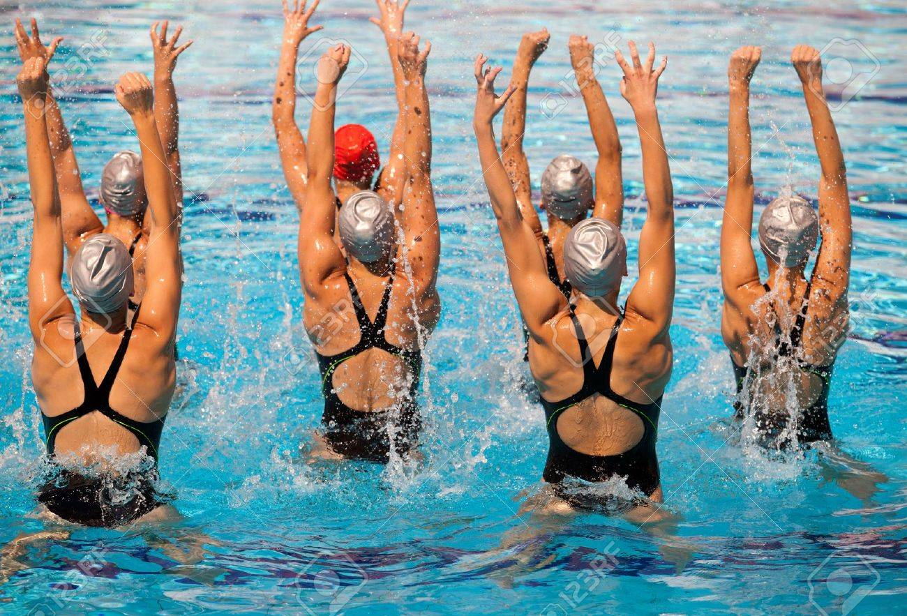 synchronized swimmers Stock Photo - 18296805