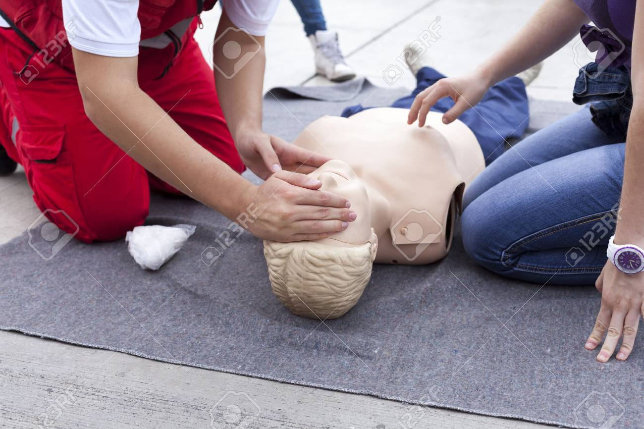 First aid training detail Stock Photo - 33454582