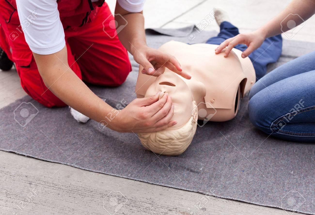 f0737ea78b First aid training. Cardiopulmonary resuscitation CPR. Stock Photo -  44024947