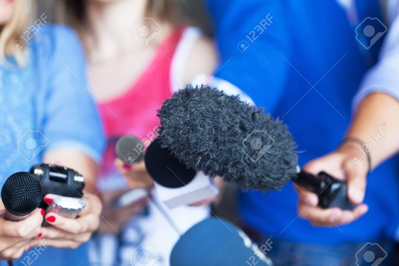 Media interview. Microphones. - 64911779