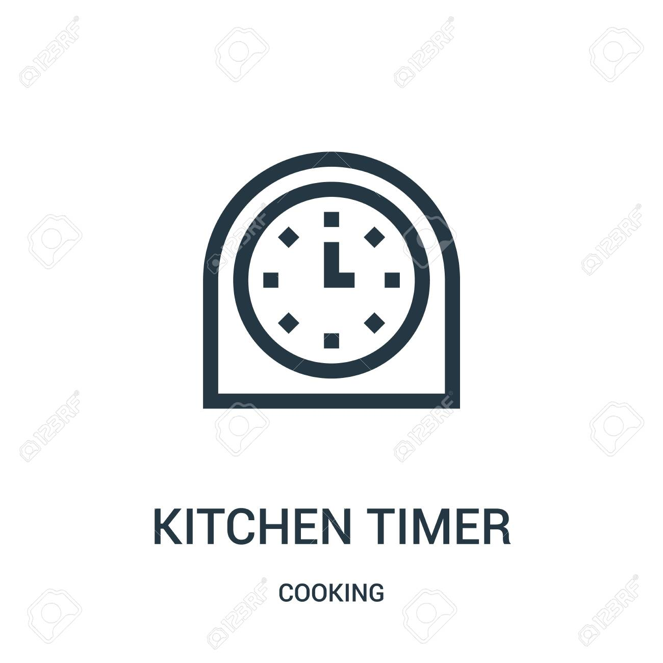 kitchen timer icon vector from cooking collection  Thin line