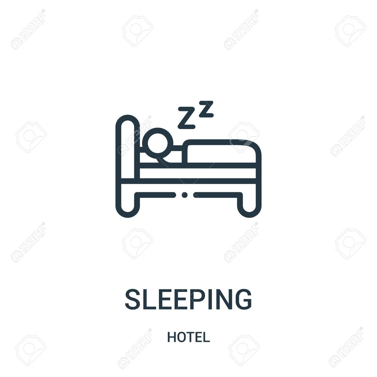 sleeping icon vector from hotel collection  Thin line sleeping