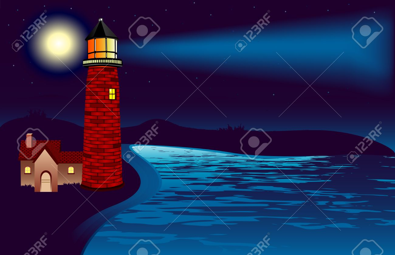 An illustration of a lighthouse shining its light in the night