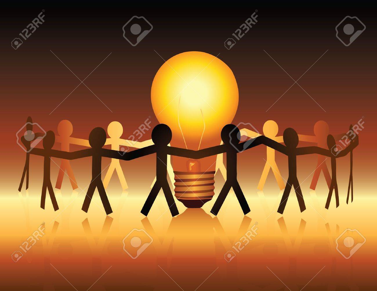 A conceptual illustration of a team of paper people uniting around a brightly lit light bulb - 9934533