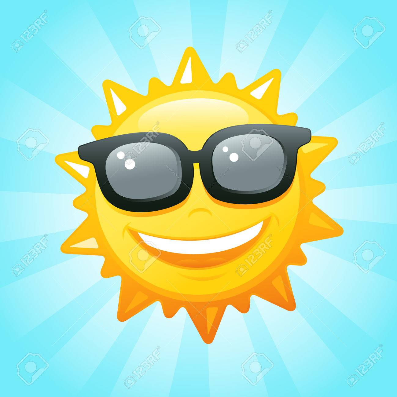 Smiling sun images - Smiling Sun Sunglasses In Sky Vector Illustration Stock Vector 22699117