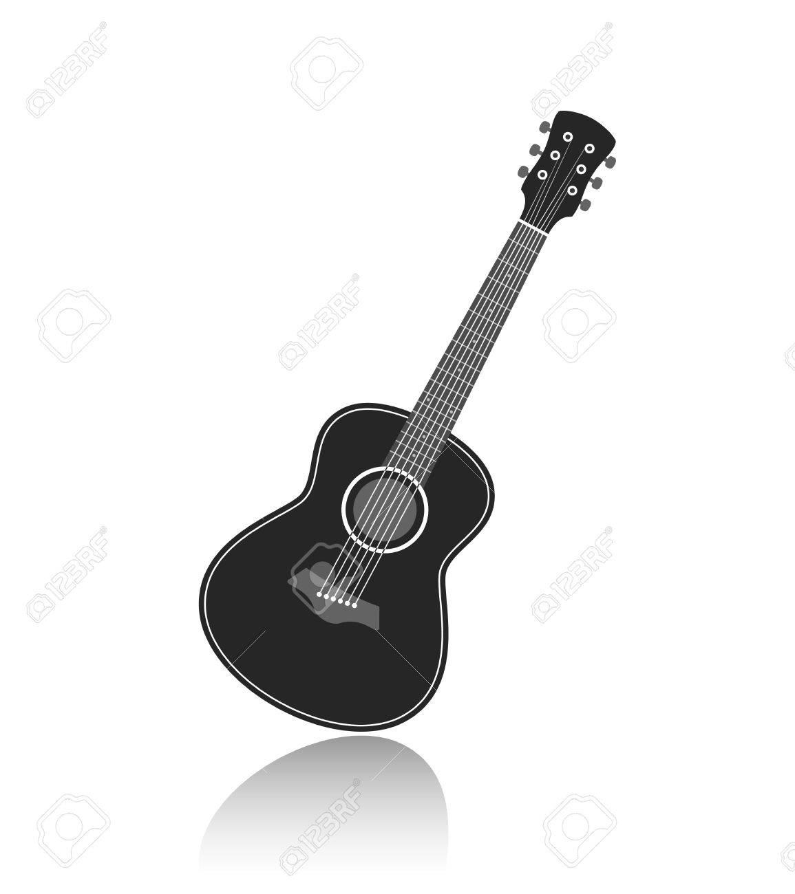 アコースティック ギター シンボル モノクロ ベクトル イラストの