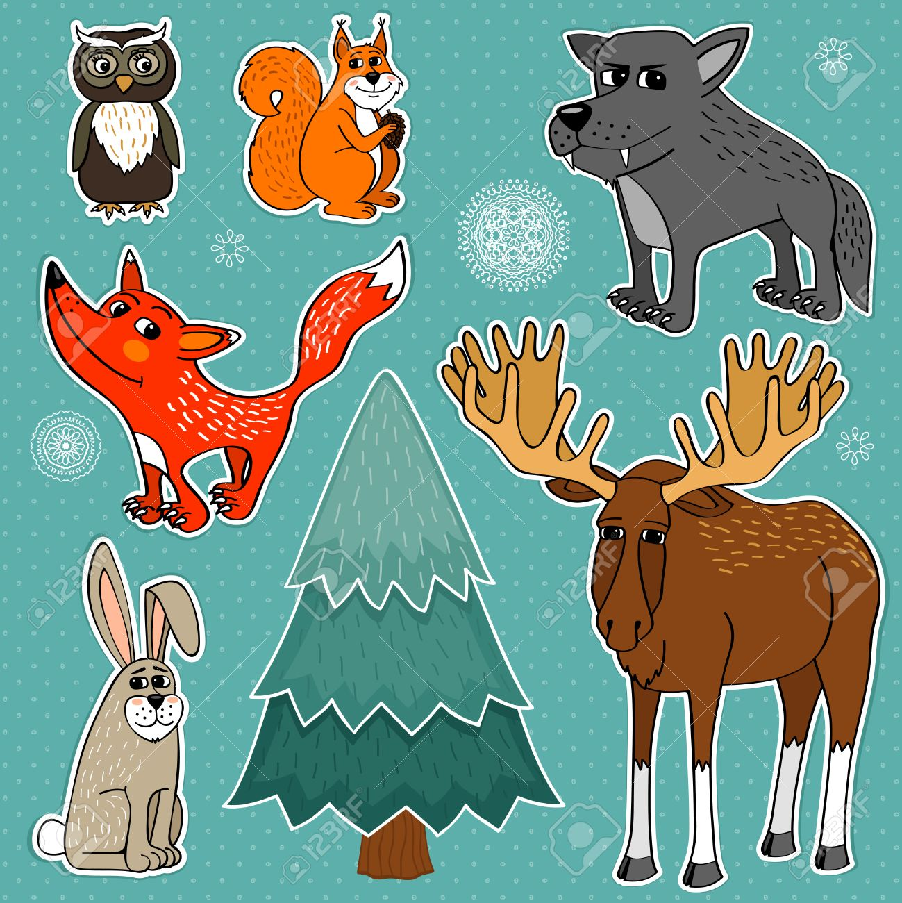 Winter forest cute animals set vector illustration Stock Vector - 22952735