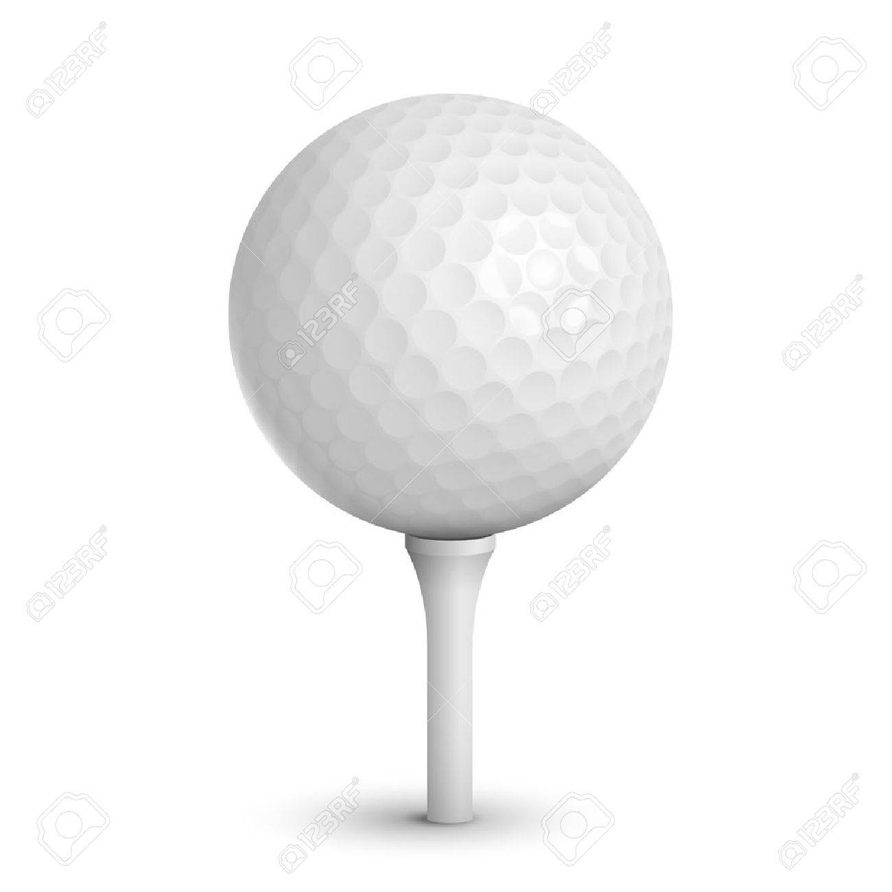 57d426b9 Golf ball on white tee realistic vector illustration isolated Stock Vector  - 22952748