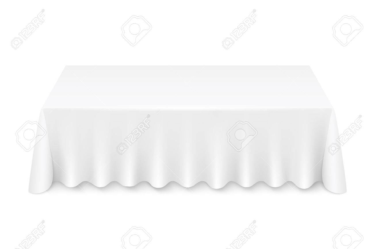 Vector   White Rectangular Table With Tablecloth Illustration Isolated