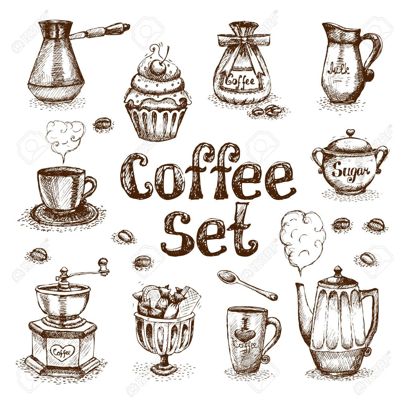 レトロなコーヒー セット ベクトル イラストのイラスト素材ベクタ