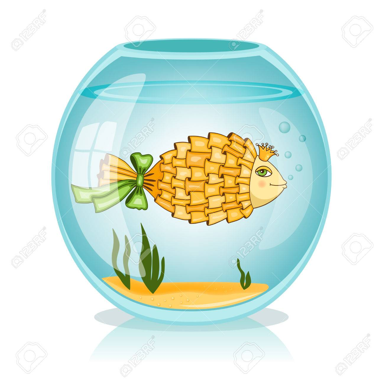Goldfish in the bowl vector illustration Stock Vector - 24164079