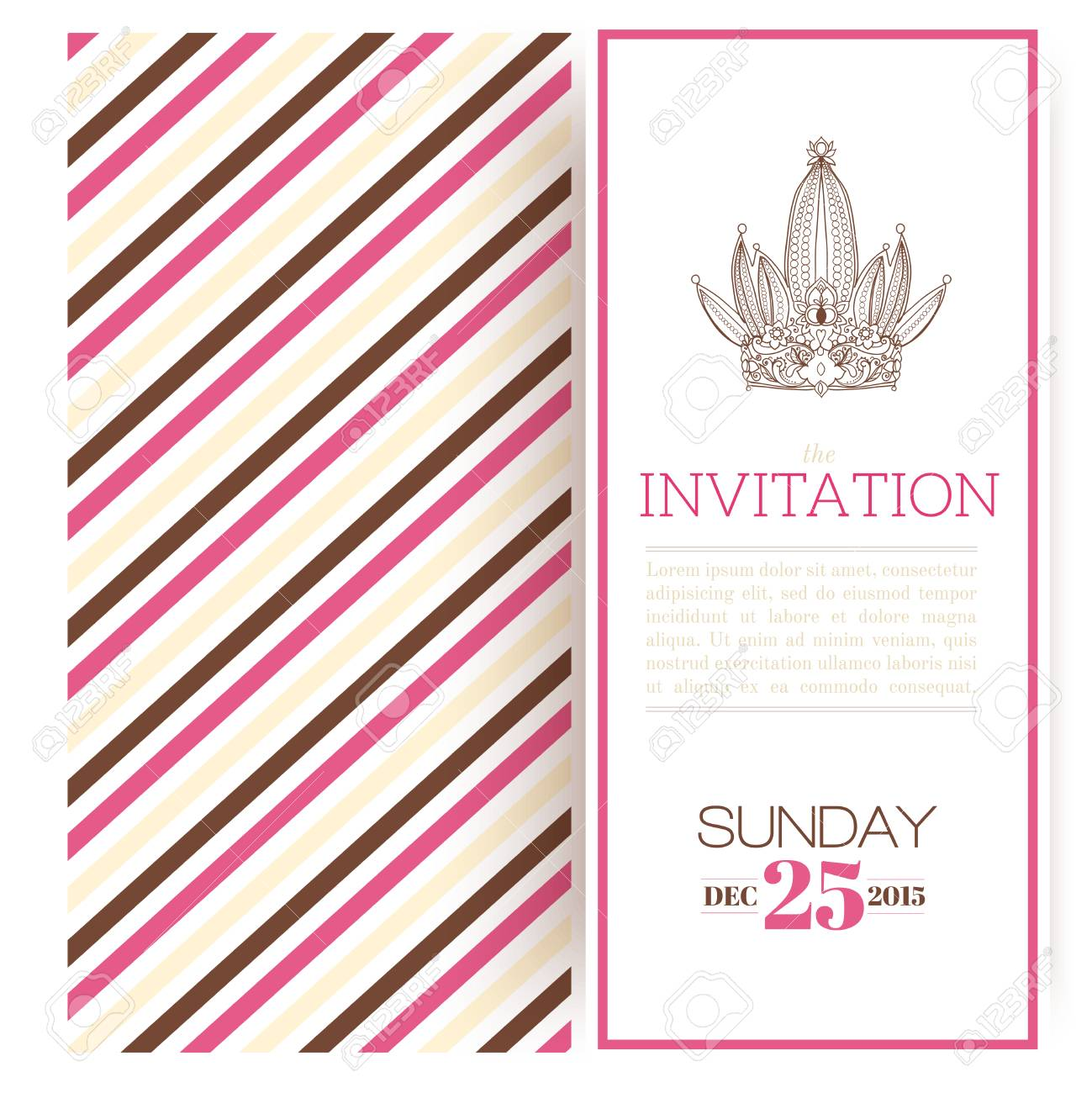 Striped princess invitation template vector illustration Stock Vector - 24474274