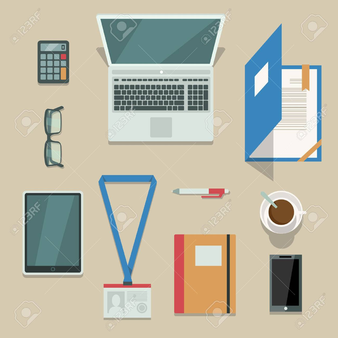 Top view on office workplace with mobile devices and documents isolated vector illustration Stock Vector - 24474355