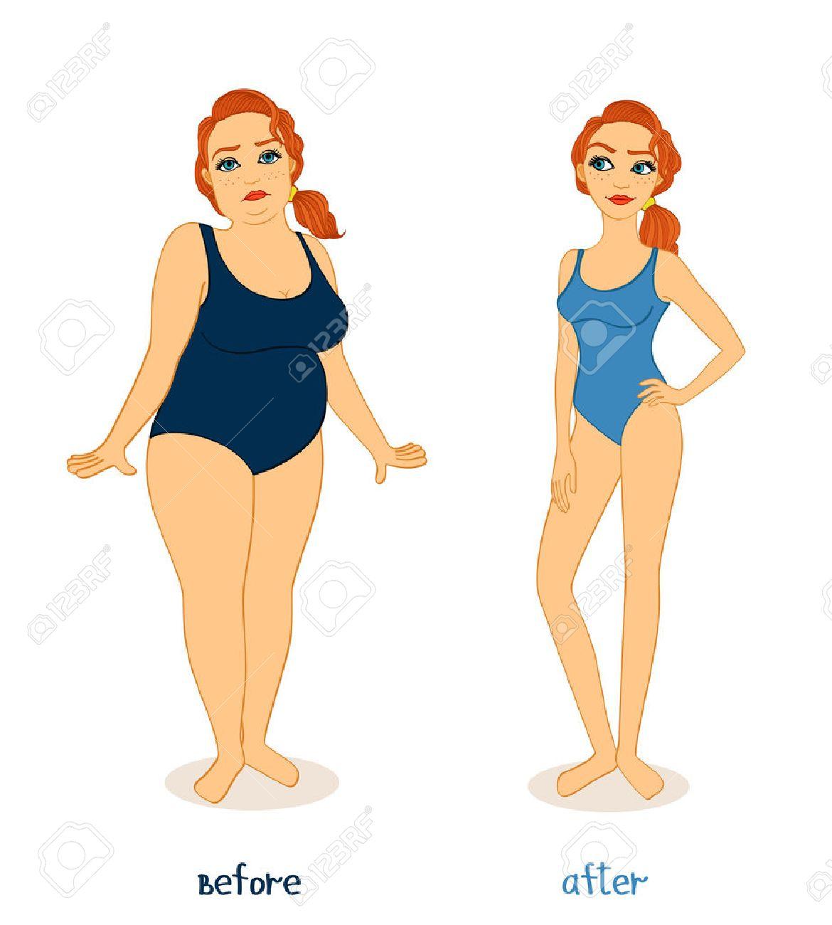 Vet en slanke vrouw figuren, voor en na het gewichtsverlies geïsoleerde vector illustratie