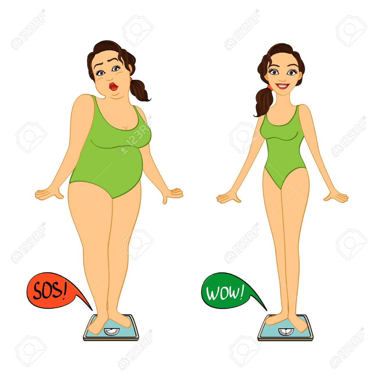 Fat and slim woman on weights scales, diet and exercises progress isolated illustration - 24964955